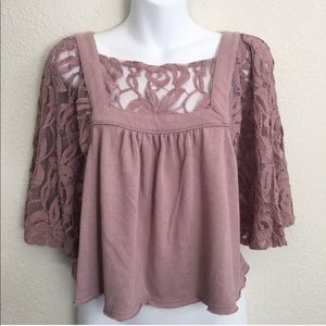 Free People Catalina Mauve pink lace crop top
